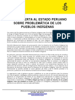 Carta Abierta Al Estado Peruano Por Día Internacional de Los Pueblos Indígenas