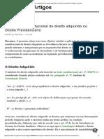 O Princípio Constitucional Do Direito Adquirido No Direito Previdenciário _ Artigos Jusbrasil