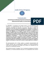 Consulta de La Institución Nacional de Derechos Humanos y Defensoría Del Pueb Lo a La Corte Electoral