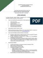 Convocatoria Investigacion Preliminar 2015