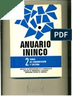 ANUARIO ININCO TEMAS DE COMUNICACIÓN Y CULTURA. VOL.2. CARACAS, 1989. Texto completo. Versión Digital.