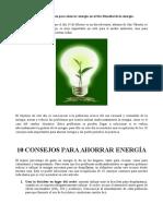 10 Consejos Para El Ahorro de Energía
