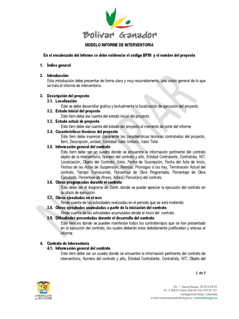 6 Modelo Informe Interventoria Calidad Negocios Business