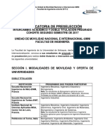 Convocatoria Doble Titulación e Intercambio Académico-Cohorte 2017-2-Fac. Ingeniería