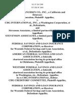 Morrison-Knudsen Co., Inc., a California and Delaware Corporation, Plaintiff v. Chg International, Inc., a Washington Corporation, and Stevenson Associates, a Limited Partnership, Stevenson Associates, a Limited Partnership v. Federal Savings and Loan Insurance Corporation, as Receiver for Westside Federal Savings and Loan Association, American Federal Savings and Loan Association, a Federally Chartered Association Having Its Principal Office in Oklahoma v. Westside Federal Savings and Loan Association, a Federally Chartered Association Having Its Principal Office in Washington, Etc., Defendant- in Re Chg International, Debtor. Chg Creditors' Committee v. Federal Savings and Loan Insurance Corporation, as Receiver for Westside Federal Savings and Loan Association, Wayne C. Rembold v. Gibraltar Savings of Washington and Queen City Inc., Also Known as Gibraltar Savings of Washington and Queen City Inc., Defendant/counterclaimant/cross- Claimant/appellant v. Westside Federal Savings and L