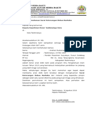 Surat Permohonan Test Urine