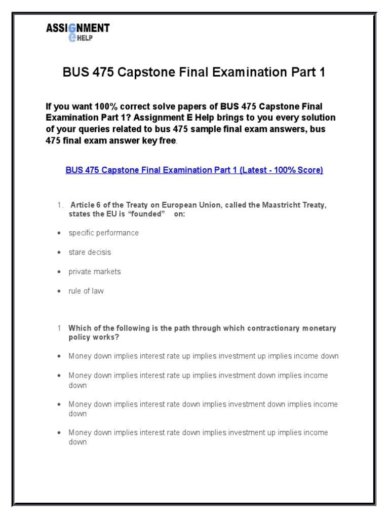 Bus 475 final exam set 1 100/100 correct answers.