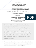 In Re All Asbestos Cases. Palmroy P.K. Bush v. Eagle-Picher Industries, Inc., Defendants/third-Party v. United States of America, Third-Party-Defendant/appellant, 849 F.2d 452, 3rd Cir. (1988)