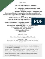 Goldlawr, Incorporated v. Jacob J. Shubert, Lawrence Shubert Lawrence, John Shubert, Select Theatres Corporation, Modern Theatre Corporation and Barrymore Theatre Corporation, and L.A.B. Amusement Corporation and William Goldman Theatres, Inc. And William Goldman, Third Party Goldlawr, Incorporated v. Jacob J. Shubert, Lawrence Shubert Lawrence, Select Theatres Corporation, and L.A.B. Amusement Corporation and William Goldman Theatres, Inc. And William Goldman, Third Party, 276 F.2d 614, 3rd Cir. (1960)