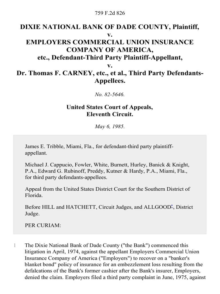 Dixie National Bank of Dade County v  Employers Commercial