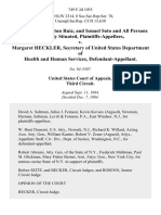 Gale Tustin, Milton Ruiz, and Ismael Soto and All Persons Similarly Situated v. Margaret Heckler, Secretary of United States Department of Health and Human Services, 749 F.2d 1055, 3rd Cir. (1984)