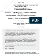 National Union Fire Insurance Company of Pittsburgh, Pa, a Pennsylvania Corporation, Plaintiff--Counter-Defendant--Appellee v. Emhart Corporation, a Virginia Corporation, Counterclaimant, Third Party v. Richard F. Vitkus, Third-Party-Defendant, 11 F.3d 1524, 3rd Cir. (1993)