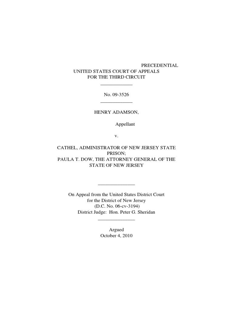 Henry Adamson v  Ronald Cathel, 3rd Cir  (2011