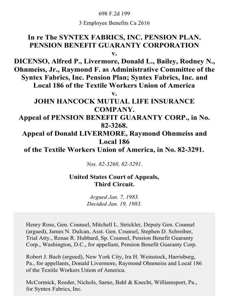 In Re the Syntex Fabrics, Inc. Pension Plan. Pension ...