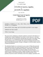 United States v. Jack Kaplan, 554 F.2d 577, 3rd Cir. (1977)