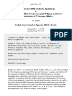 Anastasia Kapourelos v. United States of America and William J. Driver, Administrator of Veterans Affairs, 446 F.2d 1181, 3rd Cir. (1971)
