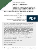 Dean Dungan v. Rodney E. Slater, Secretary, United States of America Department of Transportation Jane Garvey, Administrator, United States of America Federal Aviation Administration, 252 F.3d 670, 3rd Cir. (2001)