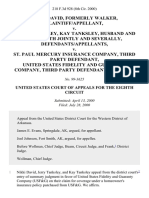 Nikki David, Formerly Walker v. Jerry Tanksley, Kay Tanksley, Husband and Wife, Both Jointly and Severally v. St. Paul Mercury Insurance Company, Third Party United States Fidelity and Guaranty Company, Third Party, 218 F.3d 928, 3rd Cir. (2000)