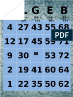 ALGEB Bingo Cards
