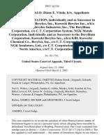 Daniel J. Vitalo Diane E. Vitalo, H/w v. Cabot Corporation, Individually and as Successor in Interest to Cabot Berylco, Inc., Kawecki Berylco Inc., A/K/A Kbi Kawecki Berylco Industries, Inc., the Beryllium Corporation, C/o C.T. Corporation System, Ngk Metals Corporation, Individually and as Successor to the Beryllium Corporation, Kawecki Berylco Inc., A/K/A Kbi, Kawecki Chemical Co., Berylco, Inc., C/o C.T. Corporation System, Ngk Insulators, Ltd., C/o C.T. Corporation System, Ngk North America, C/o C.T. Corporation System, 399 F.3d 536, 3rd Cir. (2005)