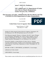 Shannon T. Doyle v. U.S. Secretary of Labor and U.S. Department of Labor Administrative Review Board, Hydro Nuclear Services, Inc. v. The Secretary of Labor, Administrative Review Board, and the United States Department of Labor, 285 F.3d 243, 3rd Cir. (2002)