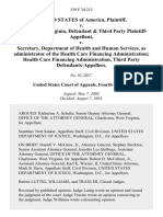 United States v. State of West Virginia, & Third Party v. Secretary, Department of Health and Human Services, as Administrator of the Health Care Financing Administration Health Care Financing Administration, Third Party, 339 F.3d 212, 3rd Cir. (2003)