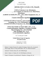 Avco Delta Corporation Canada Ltd. v. United States of America, Natural Gas Pipeline Company of America, Third Party Albert & Harlow, Inc., A/K/A Albert Equipment, Inc., Counter-Defendants-Appellants v. United States of America, and Canadian Parkhill Pipe Stringing, Inc., United States of America v. Wolf Battery & Electric, Inc., Counterdefendants-Appellees, Canadian Parkhill Pipe Stringing, Inc., A/K/A Parkhill Pipe Stringing, Inc., Cross-Defendants-Appellees, 484 F.2d 692, 3rd Cir. (1973)