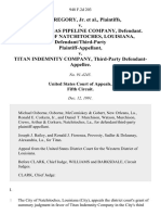 A.J. Gregory, Jr. v. Tennessee Gas Pipeline Company, the City of Natchitoches, Louisiana, Defendant/third-Party v. Titan Indemnity Company, Third-Party, 948 F.2d 203, 3rd Cir. (1991)