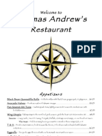 Thomas Andrew's Menu
