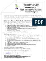 TERM EMPLOYMENT OPPORTUNITY POST-SECONDARY TEACHER - Aviation Program FNTI