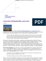 Lord Lester's Defamation Bill – an overview