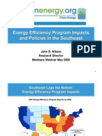 Energy Efficiency Program Impacts and Policies in the SE
