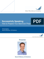 Successfully Speaking - How to Prepare Your Best-Ever Presentation May 26th Webinar