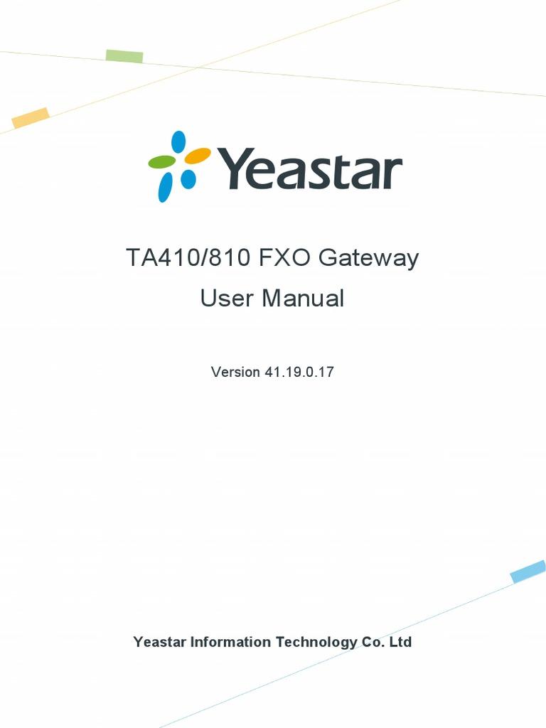 Yeastar TA410&TA810 User Manual En | Session Initiation Protocol