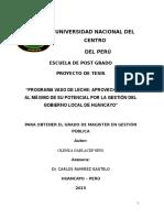 Programa Vaso de Leche Aprovechamiento Al Máximo de Su Potencial Por La Gestión Del Gobierno Local de Huancayo