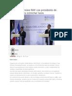 09.08.16 Se reúne RMV con presidente de Honduras para estrechar lazos