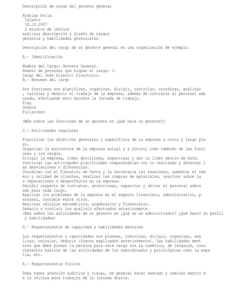 Descripción de Cargo Del Gerente General