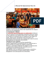 Como Hacer Un Manual de Operaciones Para Un Restaurante