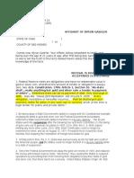 Affidavit of EFT (January 28, 2013)