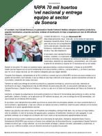 15-07-16 Impulsa SAGARPA 70 mil huertos familiares a nivel nacional y entrega maquinaria y equipo al sector agropecuario de Sonora. -Almomento Noticias