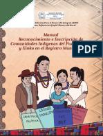 Manual de Inscripción de Comunidades Indígenas