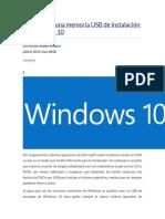 Cómo Crear Una Memoria USB de Instalación de Windows 10