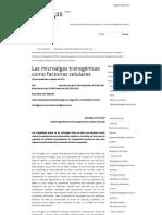 Las Microalgas Transgénicas Como Factorías Celulares