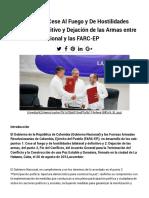 Acuerdo Sobre Cese Al Fuego y de Hostilidades Bilateral y Definitivo y Dejación de Las Armas Entre El Gobierno Nacional y Las FARC-EP