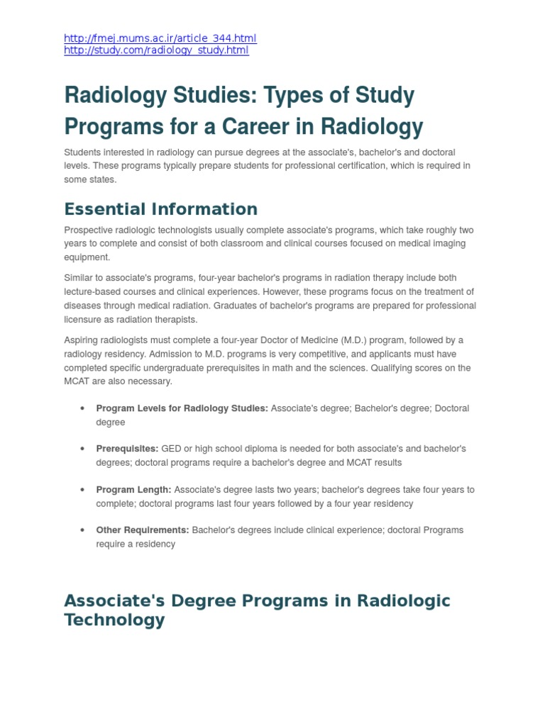 Radiology Studies Types Of Study Programs For A Career In Radiology