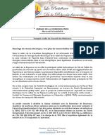 Compte Rendu Du Conseil Des Ministres Du Mercredi 10 Aout 2016