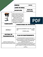 Ficha Tecnica Taladro de Banco