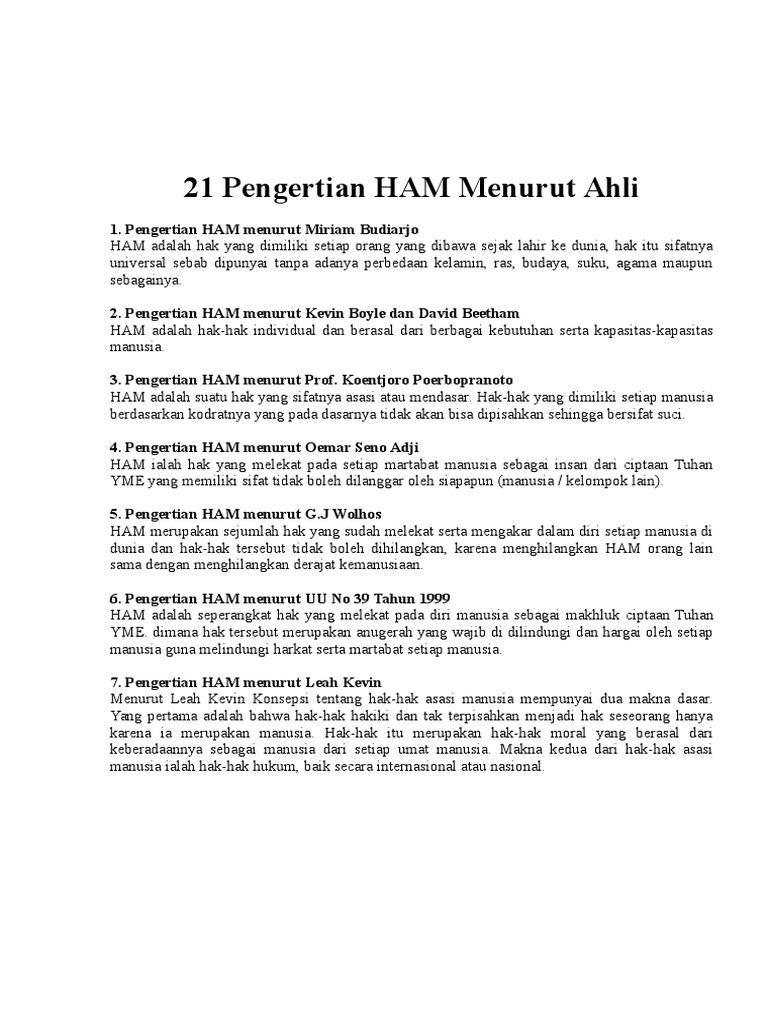 Pengertian Ham Berdasarkan Uu No 39 Tahun 1999 - Tentang Tahun