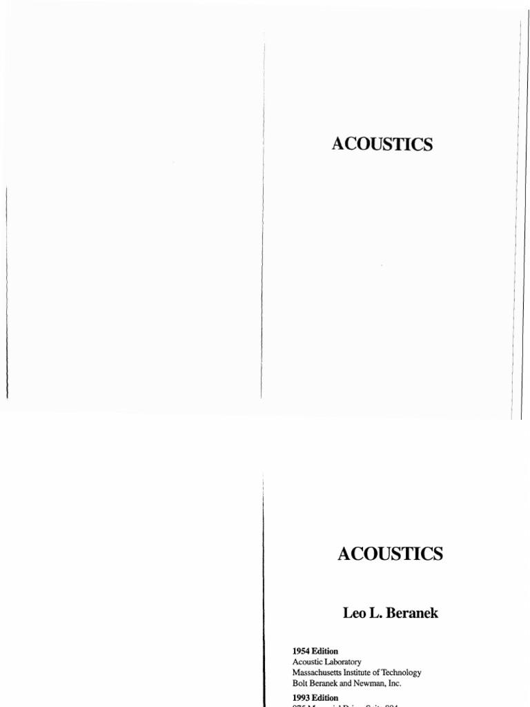 Physics - Acoustics - Leo L Beranek | Gases | Acoustics