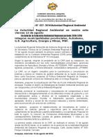 NOTA DE PRENSA N° 037 INSTALARÁN LA COMISIÓN REGIONAL AMBIENTAL CAR 2016-2018 ESTE VIERNES 12 DE AGOSTO